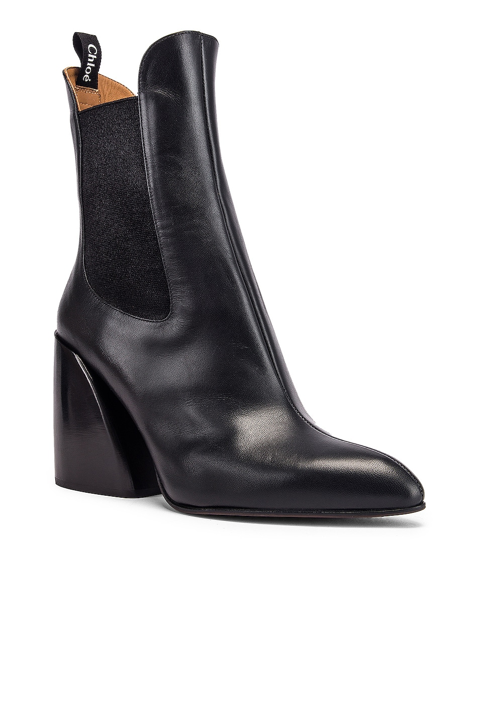 Image 2 of Chloe Leather Ankle Booties in Black