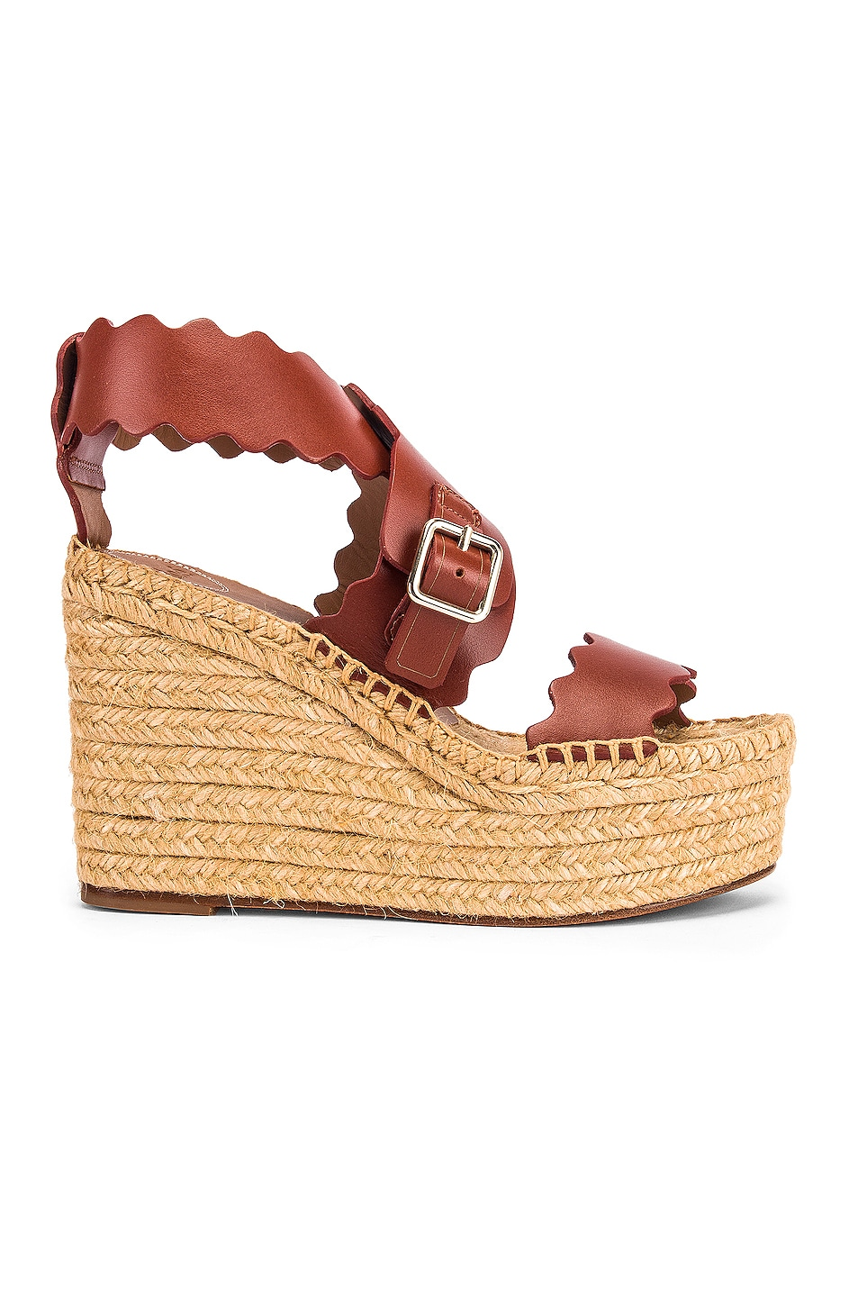 Image 1 of Chloe Leather Wedges in Sepia Brown
