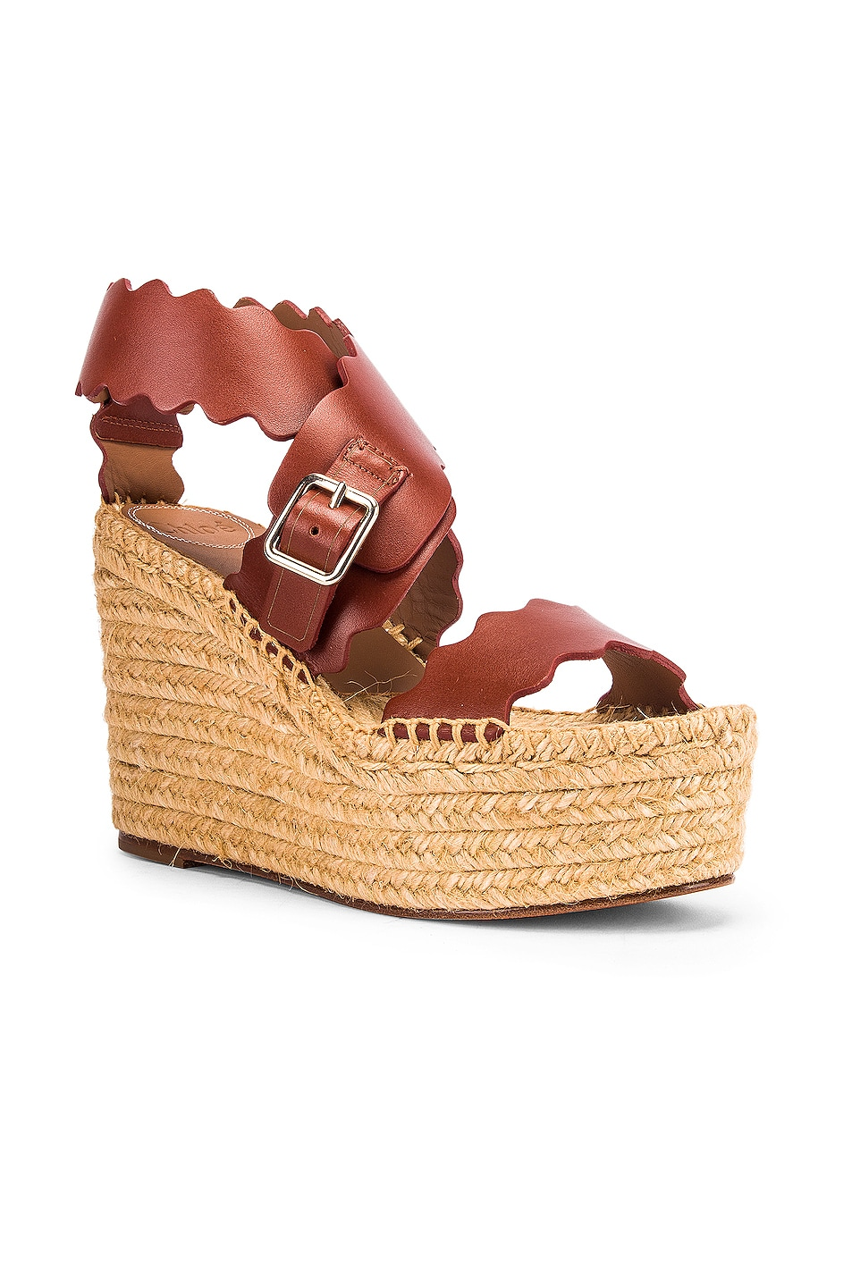 Image 2 of Chloe Leather Wedges in Sepia Brown