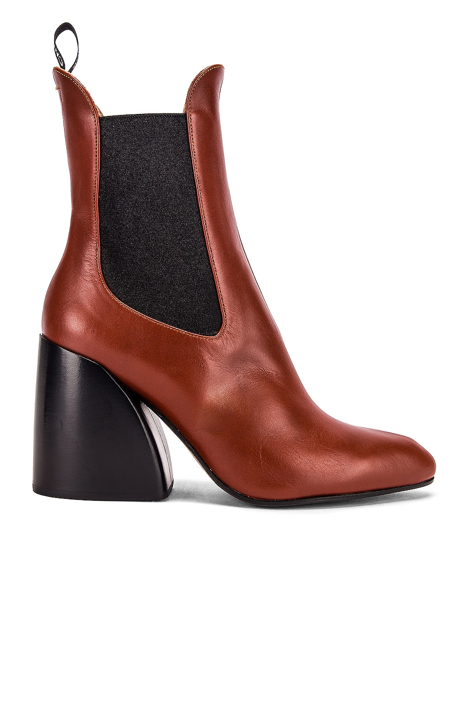 Image 1 of Chloe Leather Ankle Booties in Brown