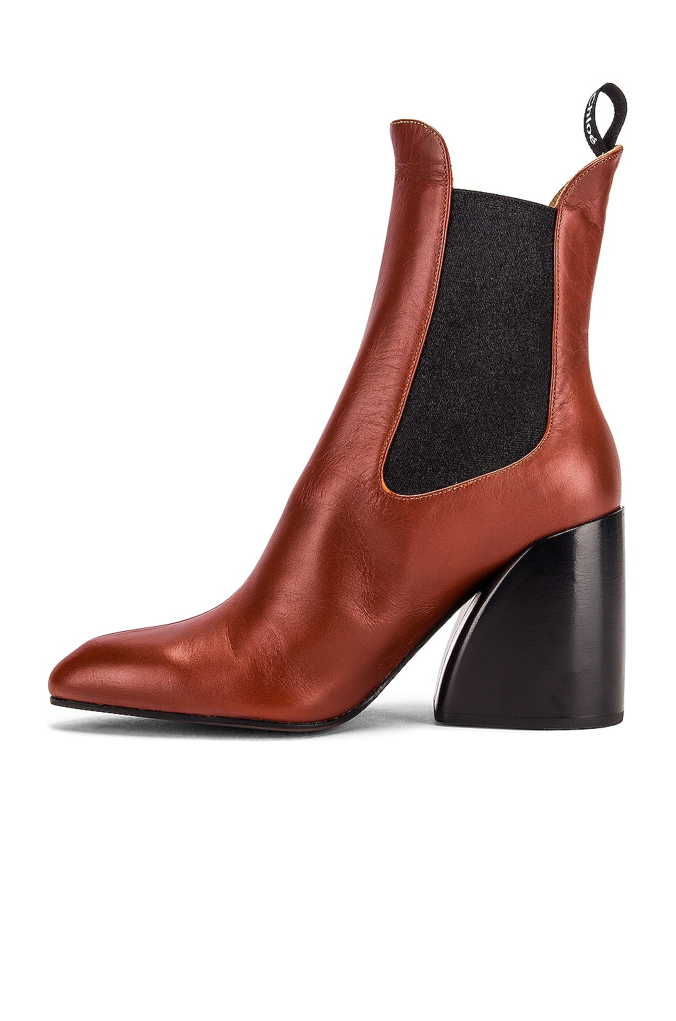 Image 5 of Chloe Leather Ankle Booties in Brown