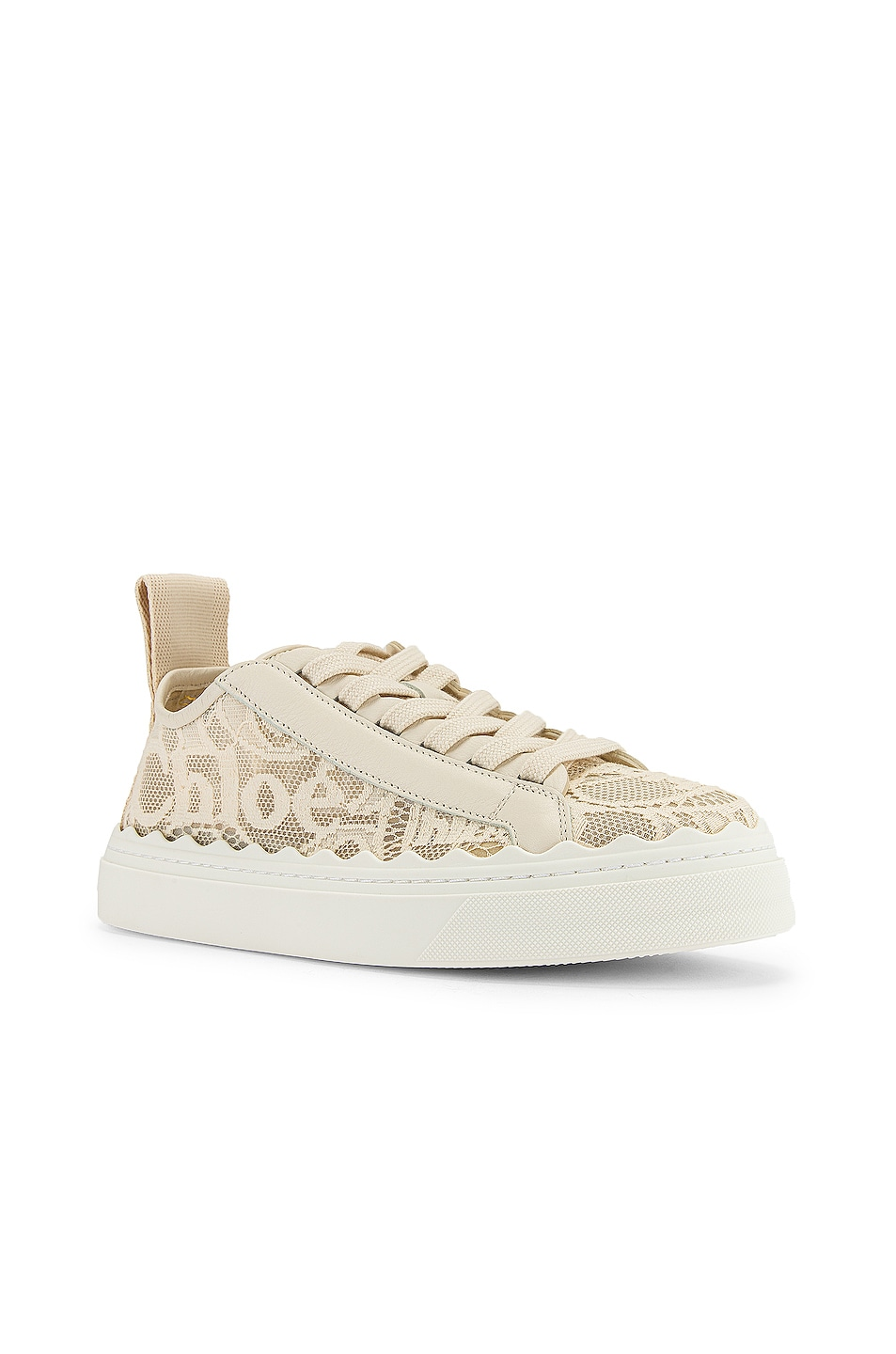 Image 2 of Chloe Lauren Lace Sneakers in Mild Beige