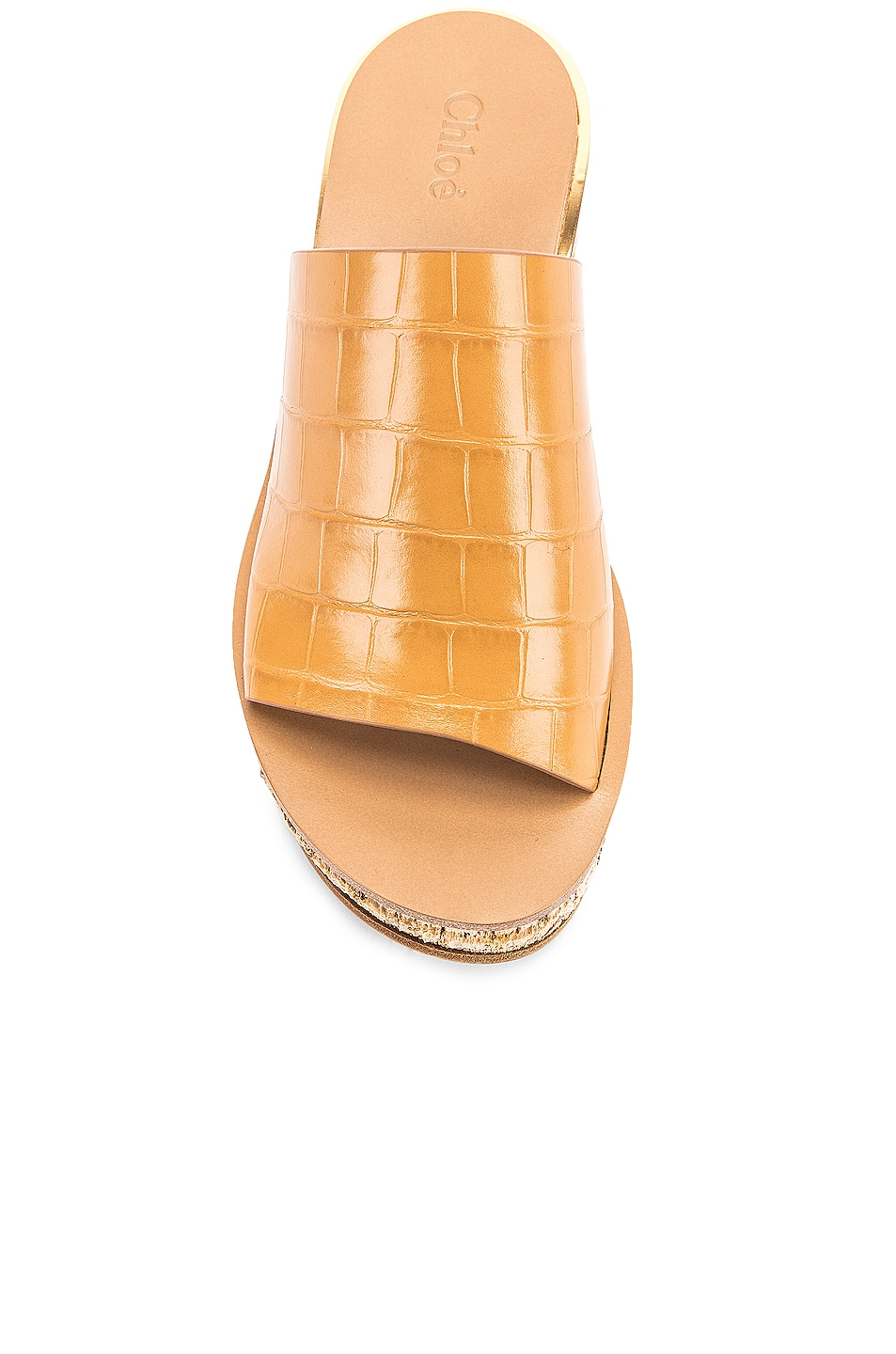 Image 4 of Chloe Camille Embossed Croc Platform Sandals in Autumnal Brown