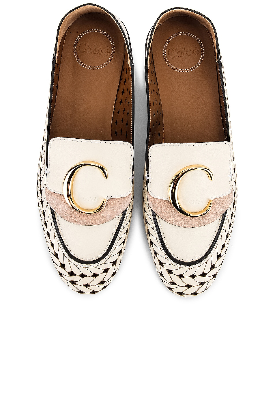 Image 1 of Chloe C Lasered Leather Loafers in White