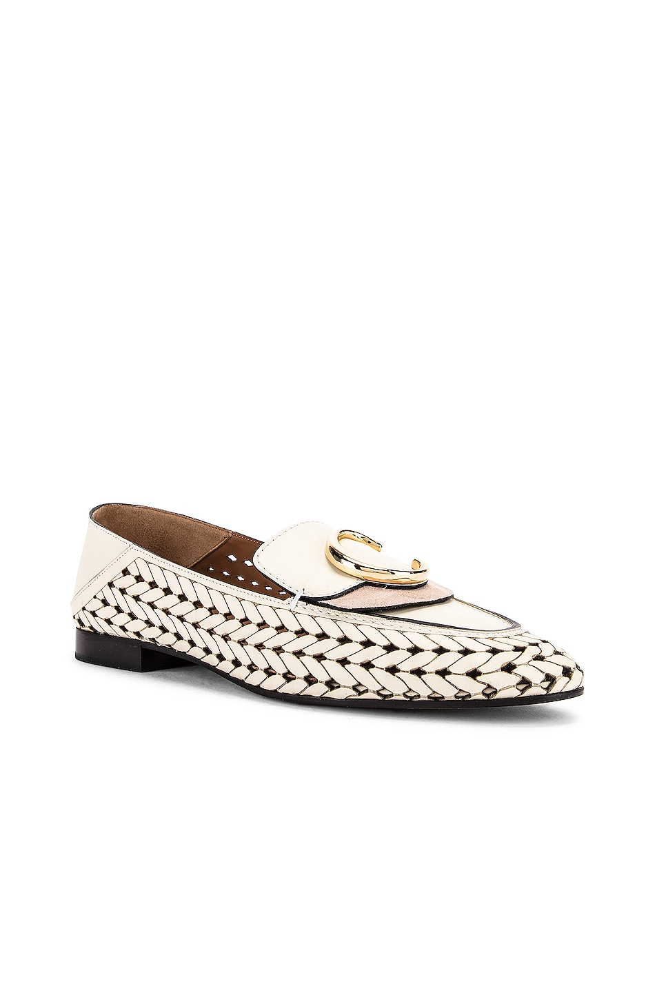Image 4 of Chloe C Lasered Leather Loafers in White