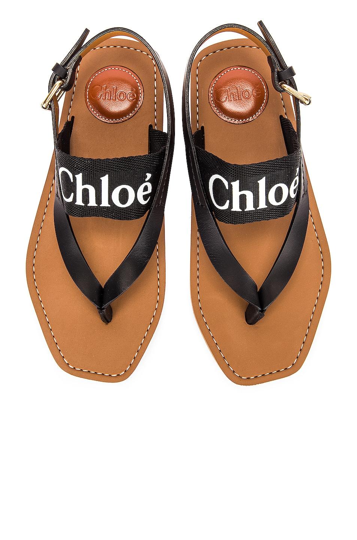 Image 1 of Chloe Woody Slingback Sandals in Black