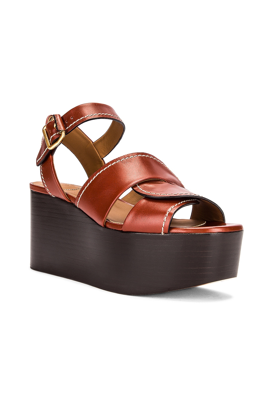 Image 2 of Chloe Candice Platform Sandals in Sepia Brown