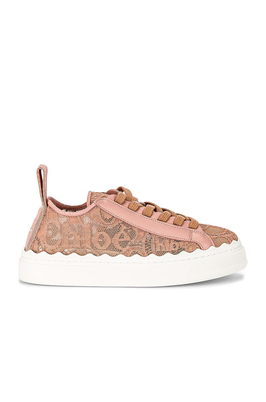 Image 1 of Chloe Lauren Lace Sneakers in Pink Tea