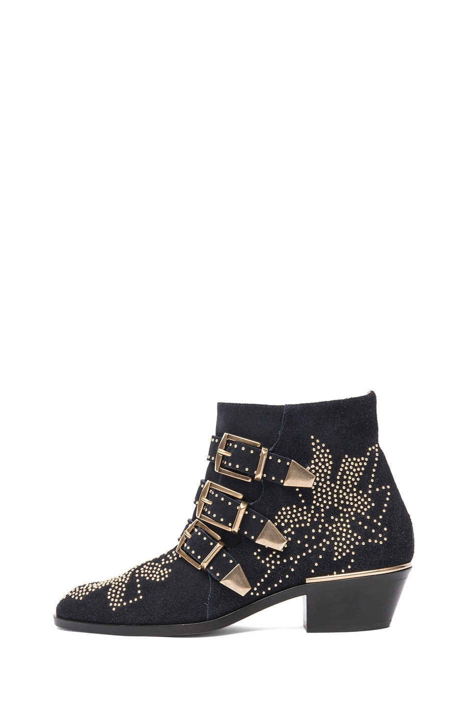 Image 1 of Chloe Susanna Suede Studded Booties in Celtic Night