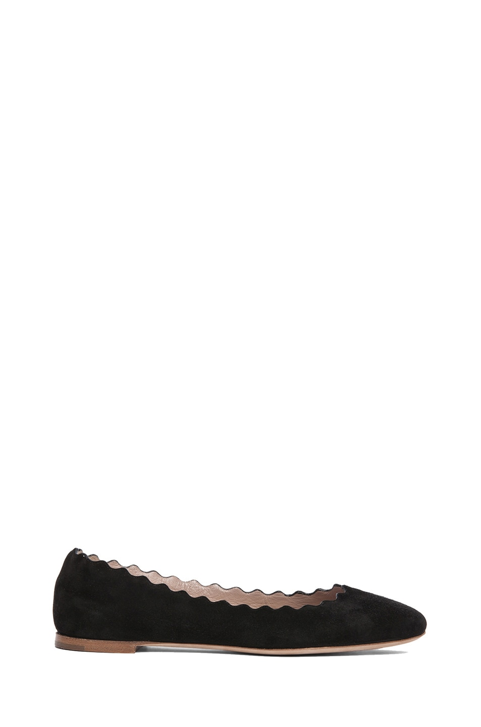 Image 1 of Chloe Suede Scalloped Flats in Black