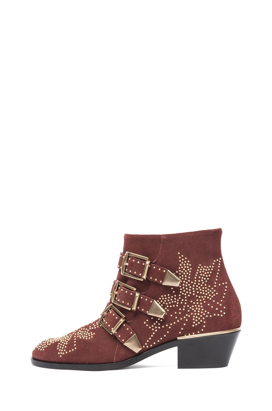 Image 1 of Chloe Susanna Suede Studded Booties in Red Vervain