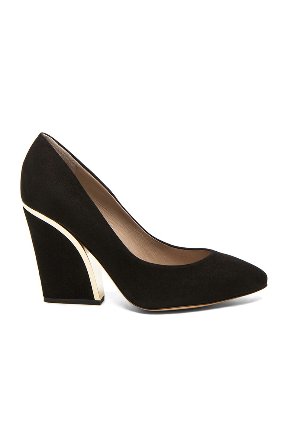 7c041f383084 Image 1 of Chloe Suede Gold Trim Pumps in Black
