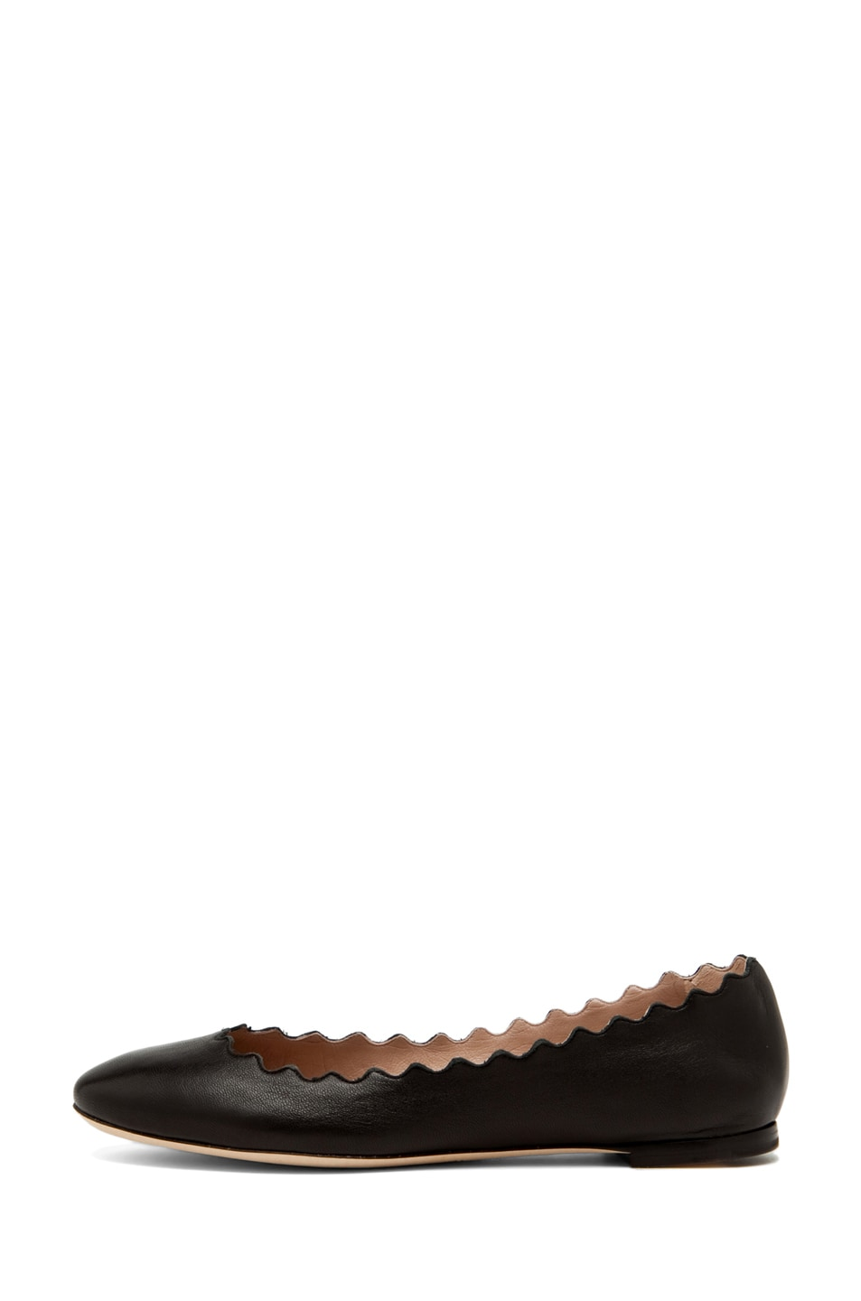 Image 1 of Chloe Lambskin Leather Scalloped Flats in Black