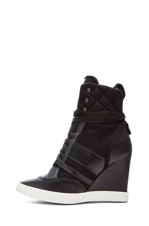 Image 1 of Chloe Leather & Wool Sneaker Wedges in Black