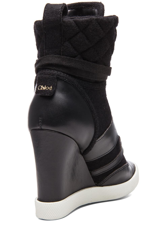 Image 3 of Chloe Leather & Wool Sneaker Wedges in Black
