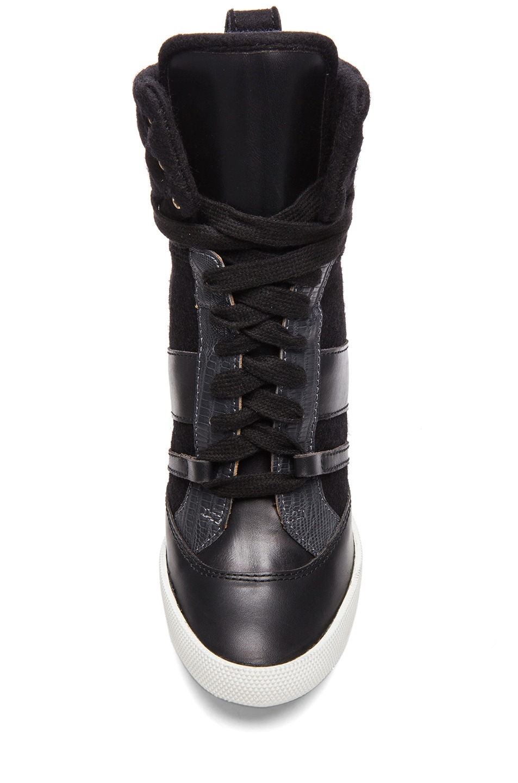 Image 4 of Chloe Leather & Wool Sneaker Wedges in Black