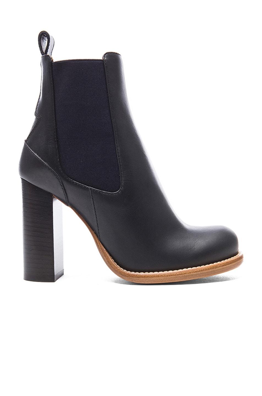 Image 1 of Chloe Leather Booties in Black & Navy Blue