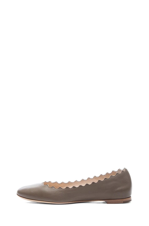 Image 1 of Chloe Leather Scalloped Flats in Green Alga