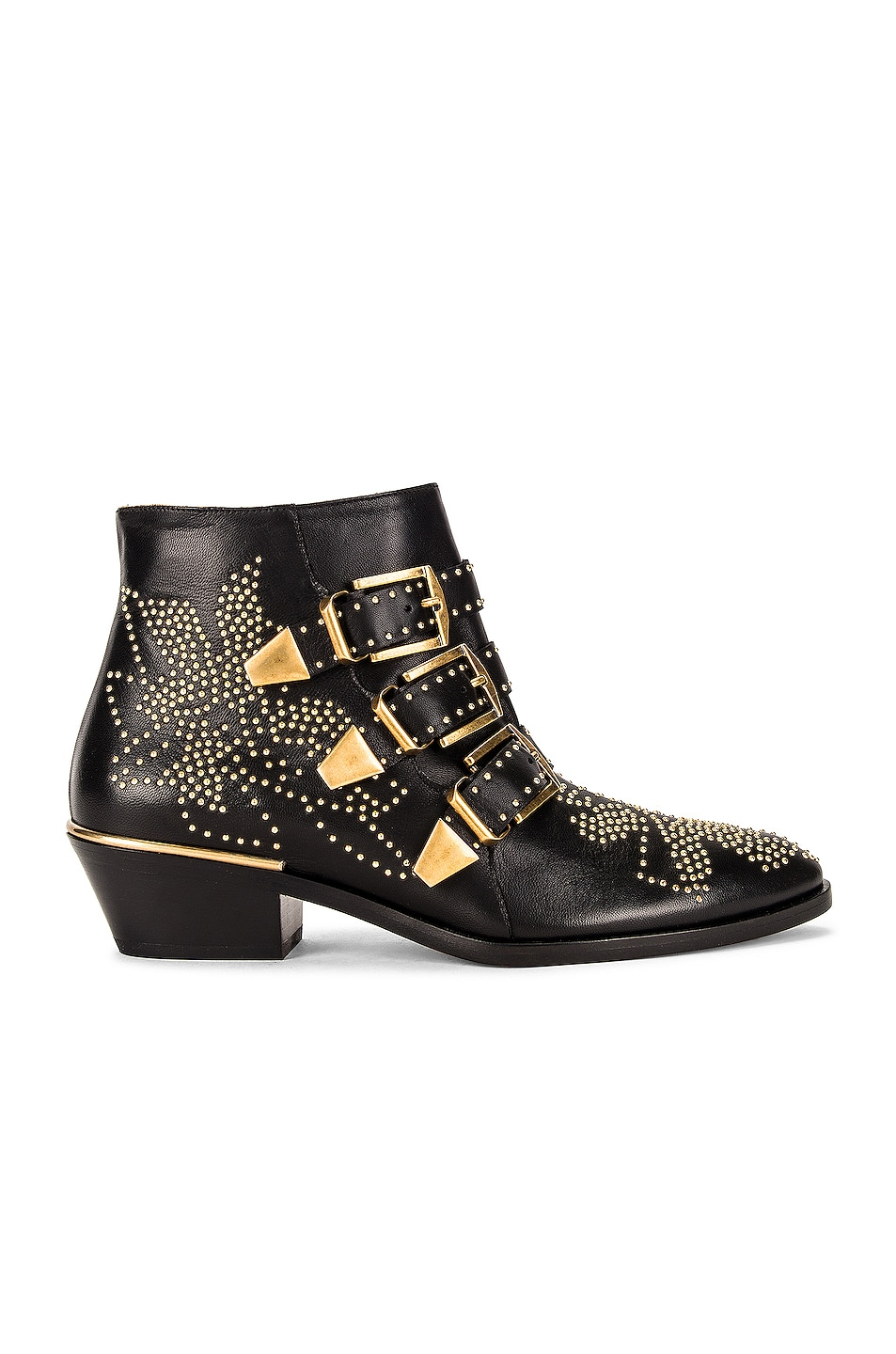 Image 1 of Chloe Susanna Leather Studded Booties in Black