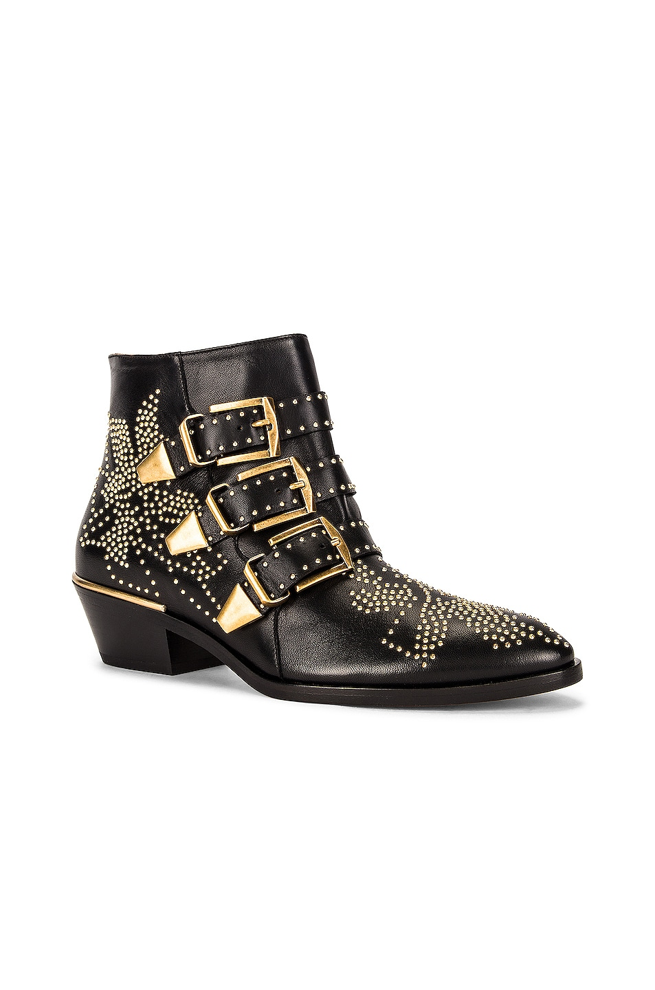 Image 2 of Chloe Susanna Leather Studded Booties in Black & Gold