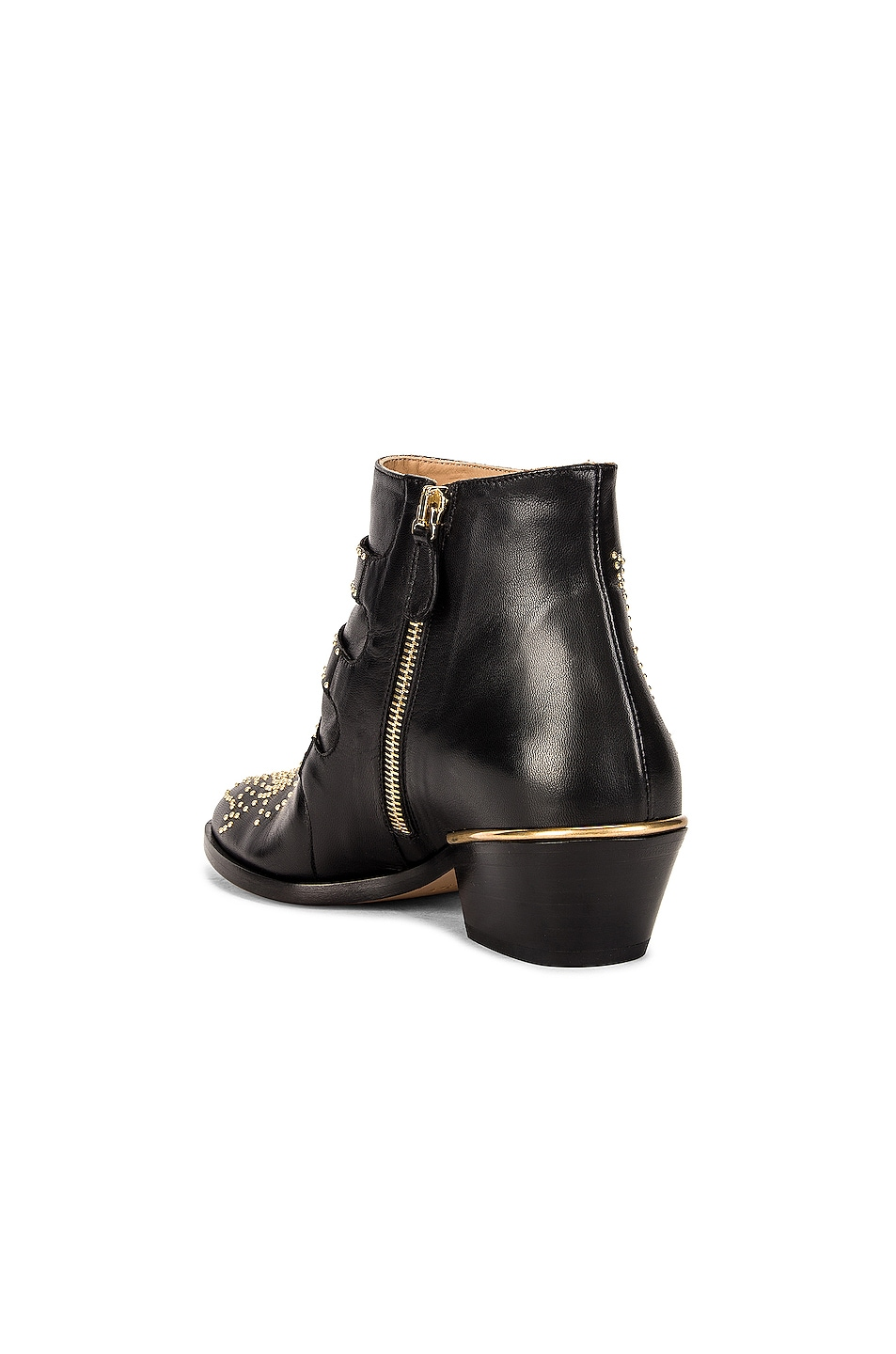 Image 3 of Chloe Susanna Leather Studded Booties in Black & Gold