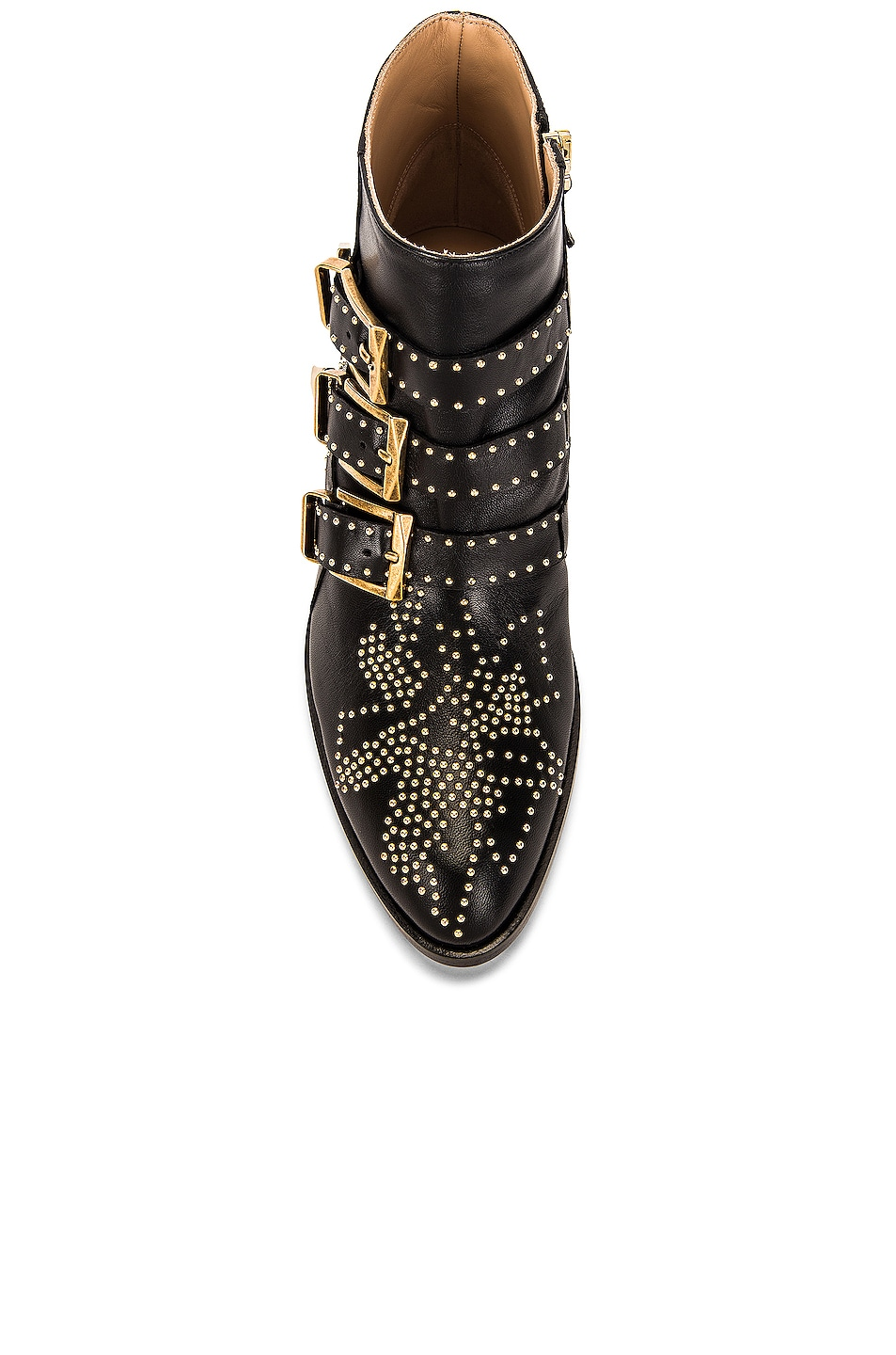 Image 4 of Chloe Susanna Leather Studded Booties in Black & Gold