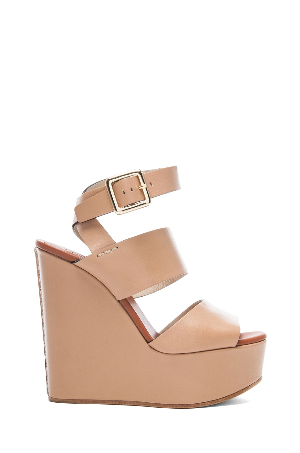 318a1fec89f5f Image 1 of Chloe Leather Wedges in Wet Sand