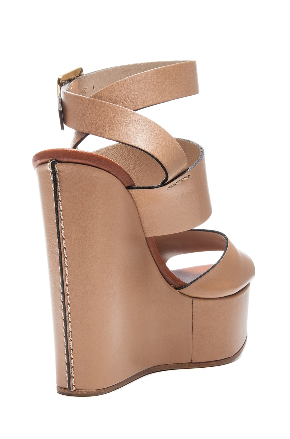 e01c9957e2452 Image 3 of Chloe Leather Wedges in Wet Sand