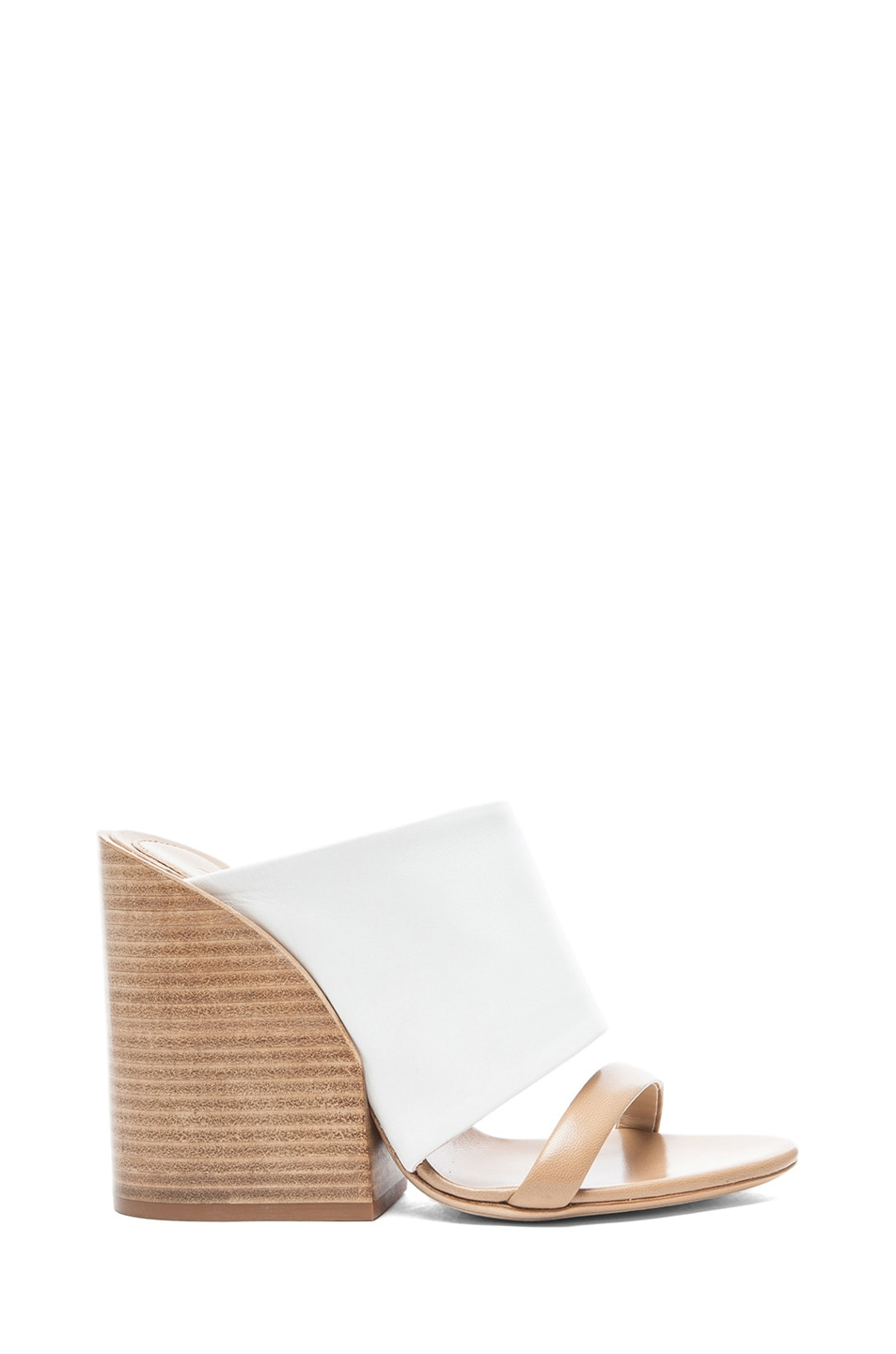 Image 1 of Chloe Mule Nappa Leather Sandals in White & Tan