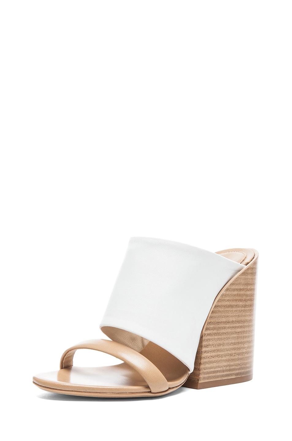 Image 2 of Chloe Mule Nappa Leather Sandals in White & Tan