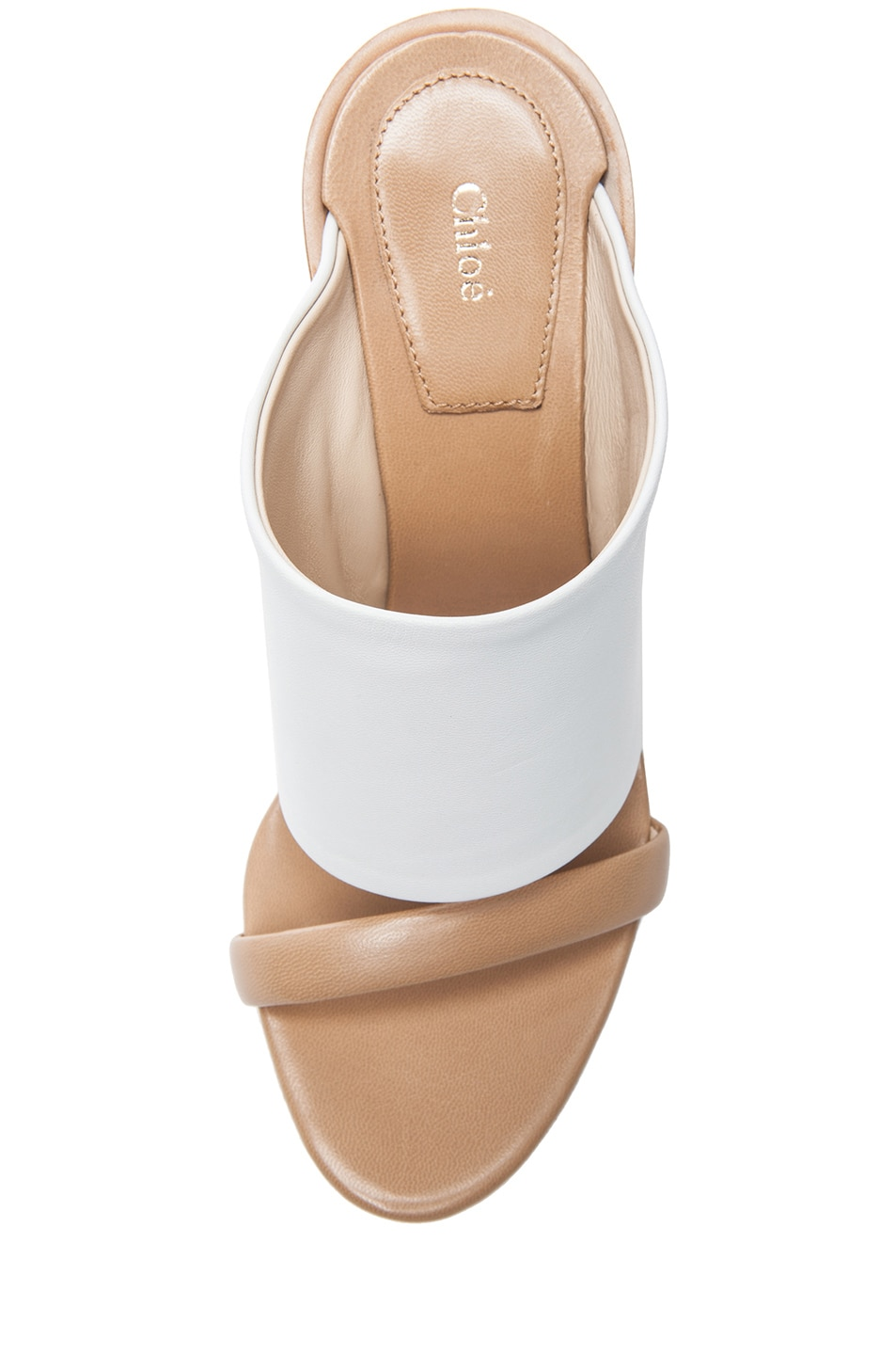 Image 4 of Chloe Mule Nappa Leather Sandals in White & Tan