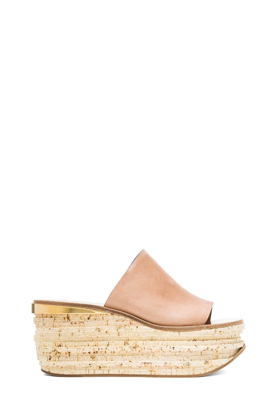 Image 1 of Chloe Leather Cork Wedge Mules in Pastel Pink