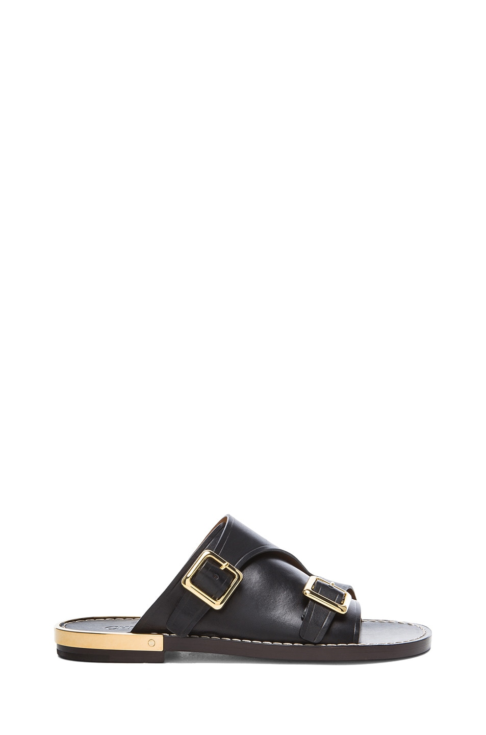 Image 1 of Chloe Slide Leather Sandals in Black