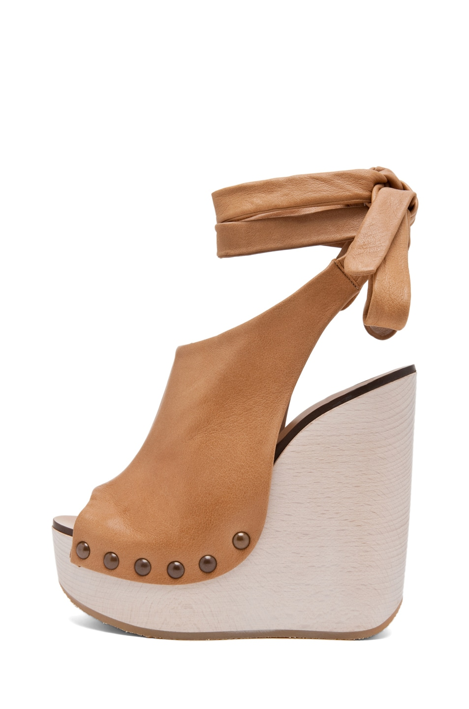 Image 1 of Chloe Leather Wrap Around Wedges in Tan