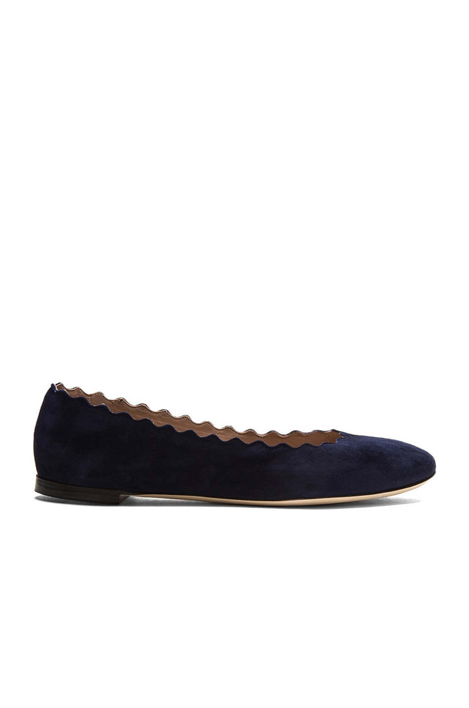 Image 1 of Chloe Suede Scalloped Flats in Blue Lagoon
