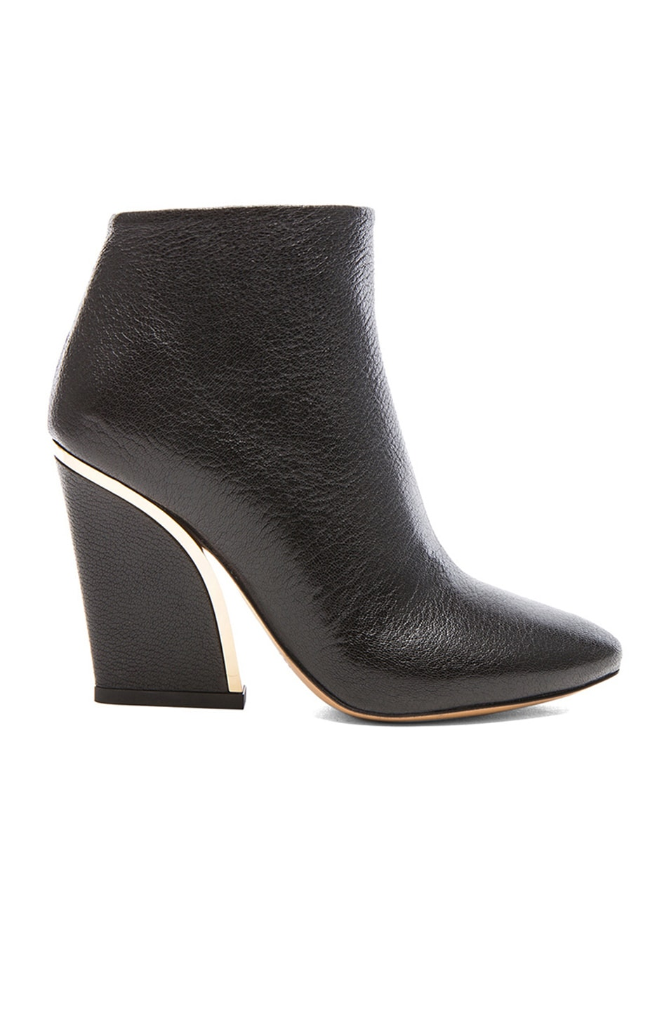 3918d034f9625 Image 1 of Chloe Gold Line Leather Ankle Boots in Black