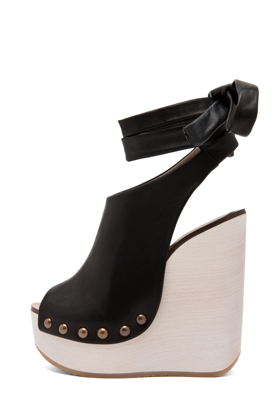 Image 1 of Chloe Leather Wrap Around Wedges in Black