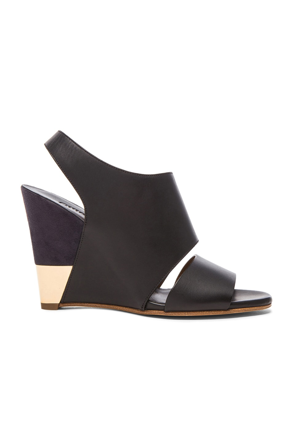 Image 1 of Chloe Sling Back Leather Wedges in Black Leather & Navy Suede