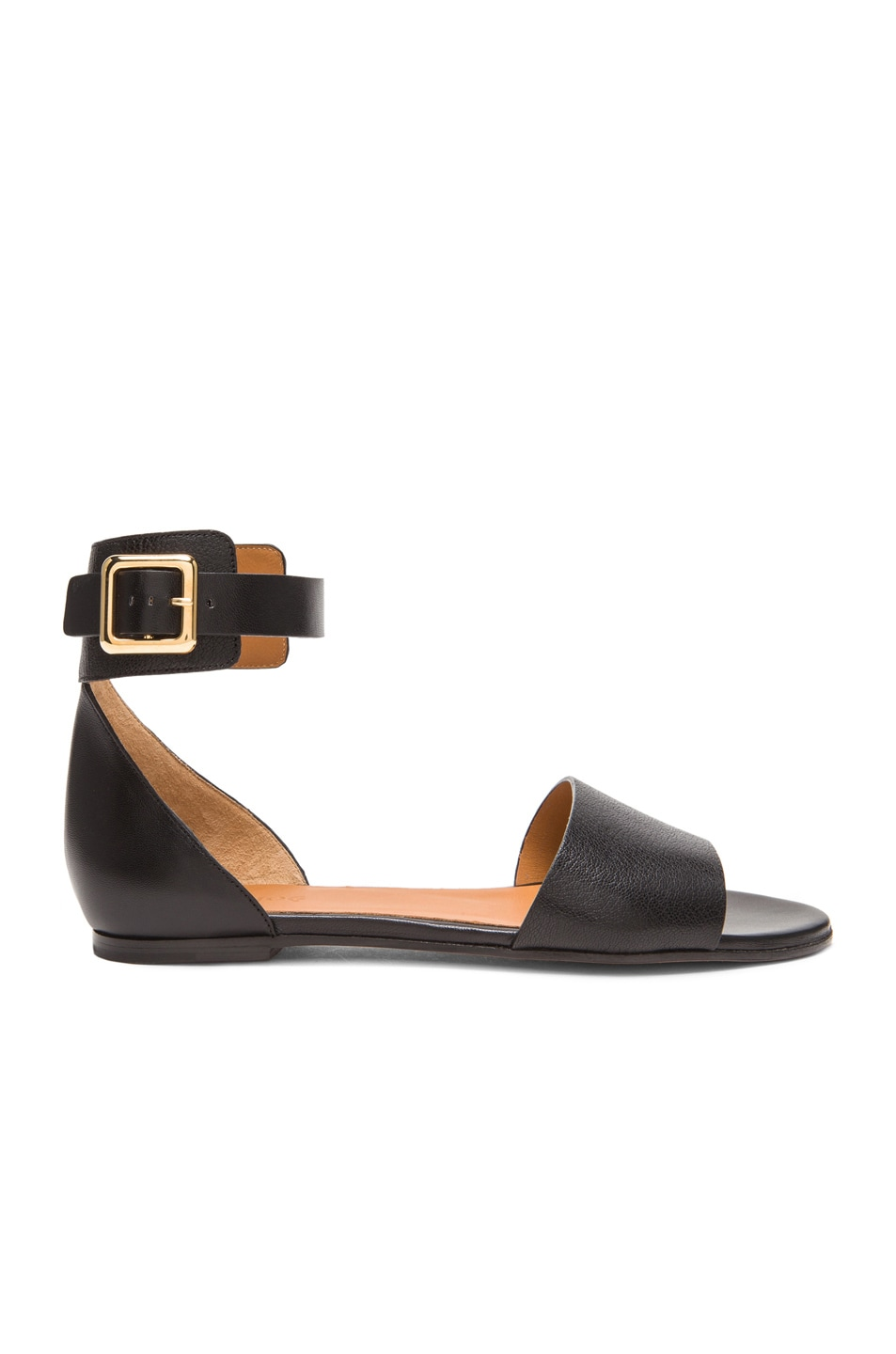 Image 1 of Chloe Buckled Ankle Strap Leather Sandals in Black