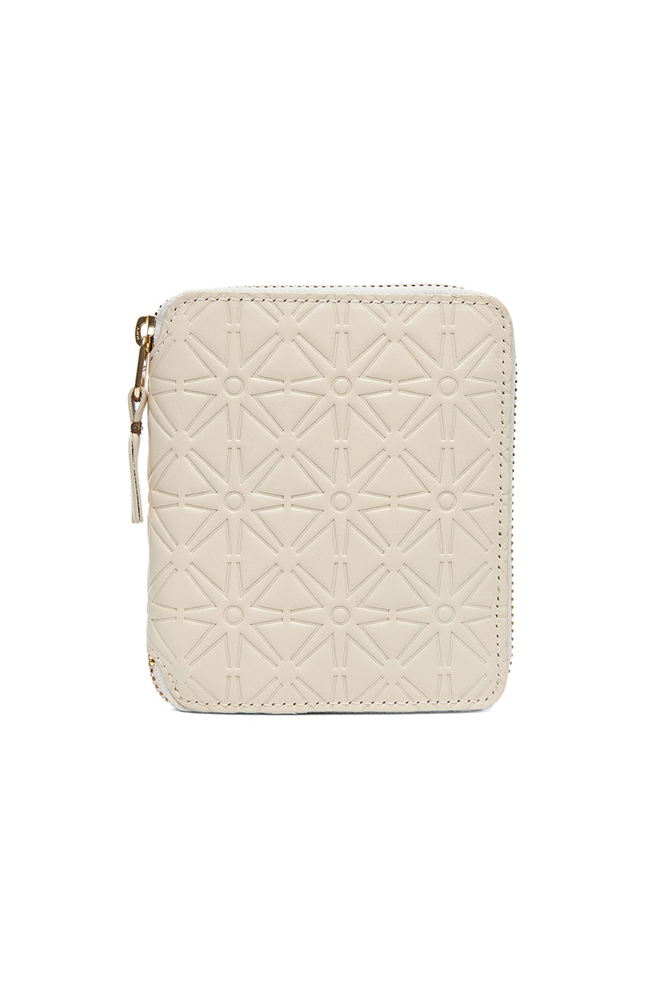 COMME DES GARCONS STAR EMBOSSED ZIP FOLD WALLET IN WHITE,GEOMETRIC PRINT