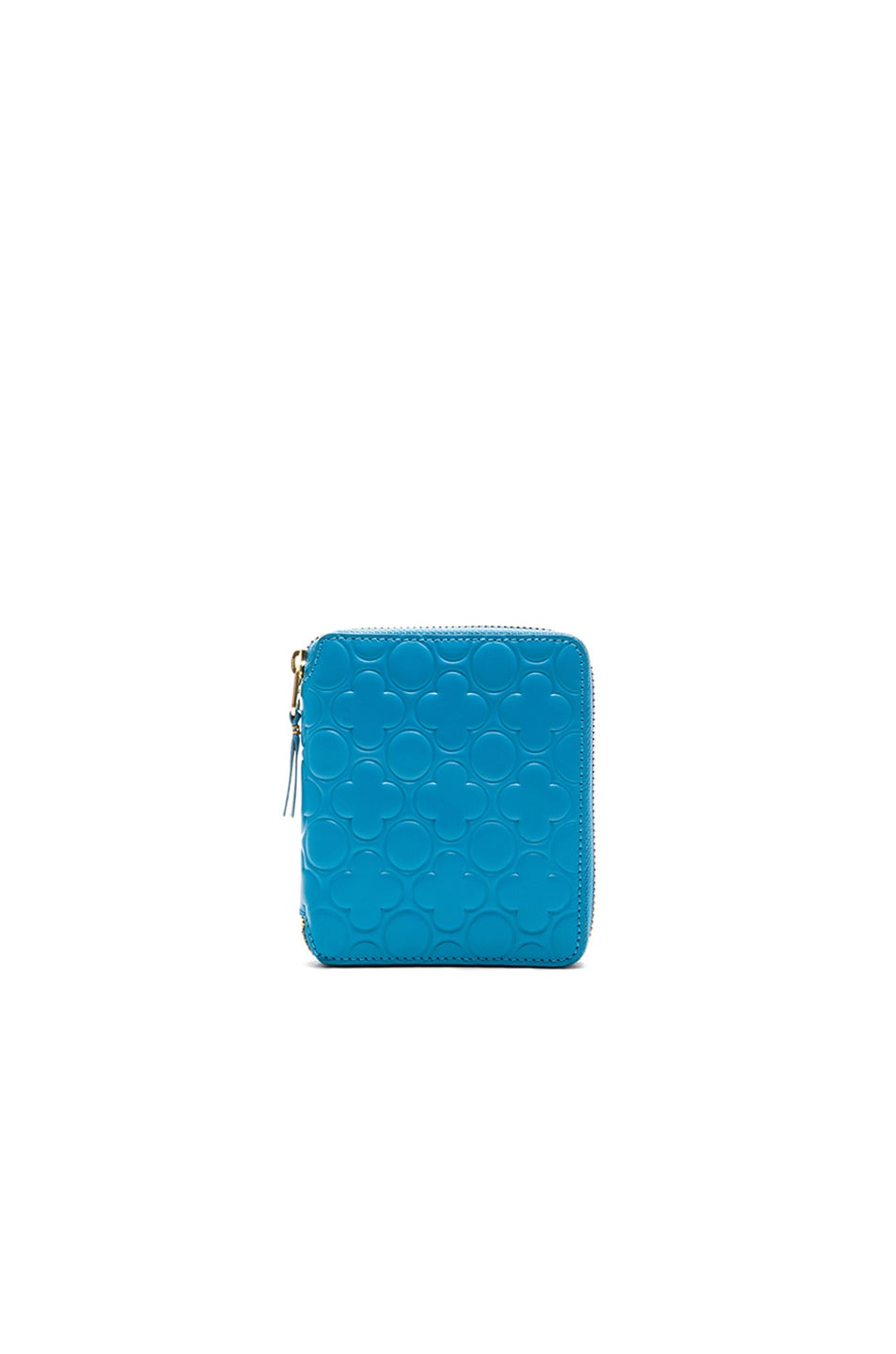 Image 1 of Comme Des Garcons Clover Embossed Zip Fold Wallet in Blue