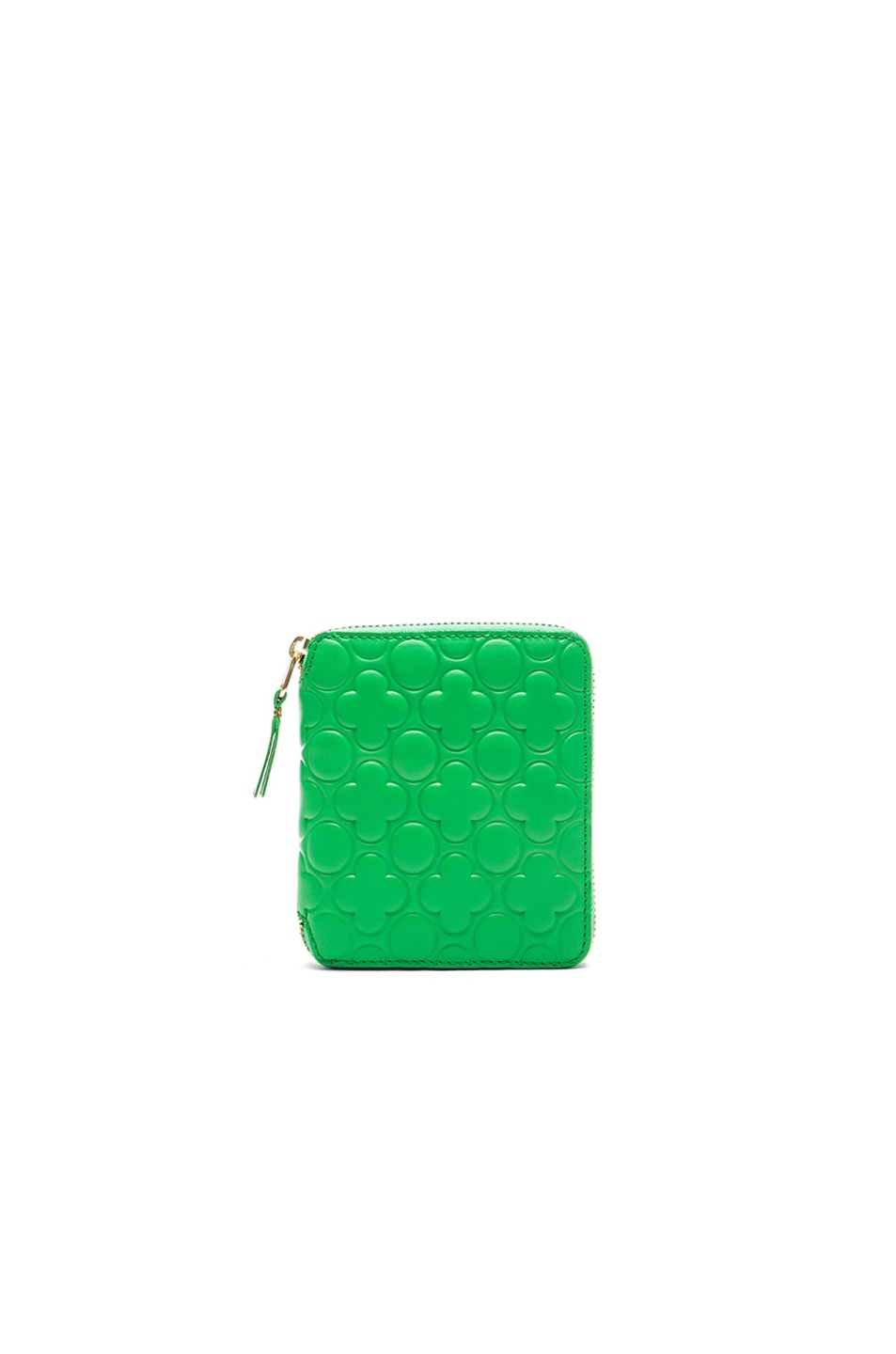 Image 1 of Comme Des Garcons Clover Embossed Zip Fold Wallet in Green