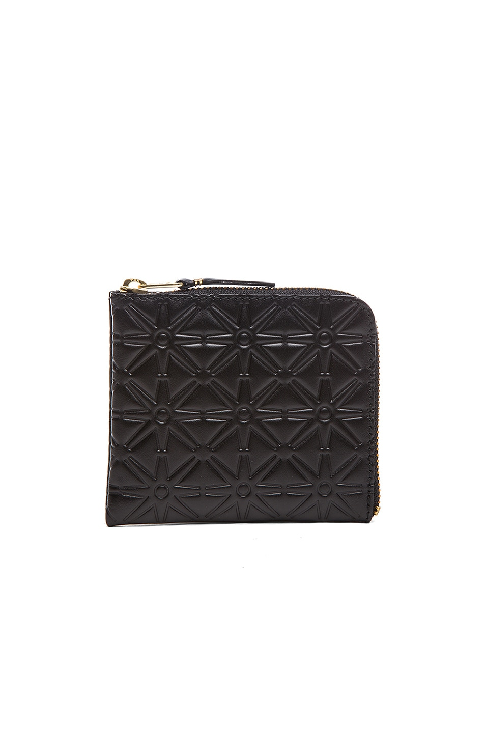COMME DES GARCONS SMALL STAR EMBOSSED ZIP WALLET IN BLACK