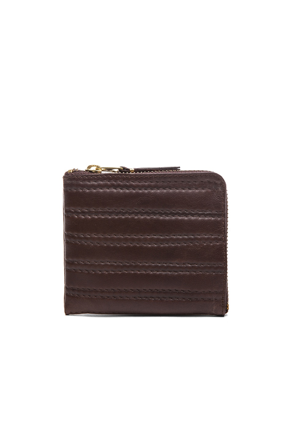 Image 1 of Comme Des Garcons Embossed Stitch Small Zip Wallet in Brown
