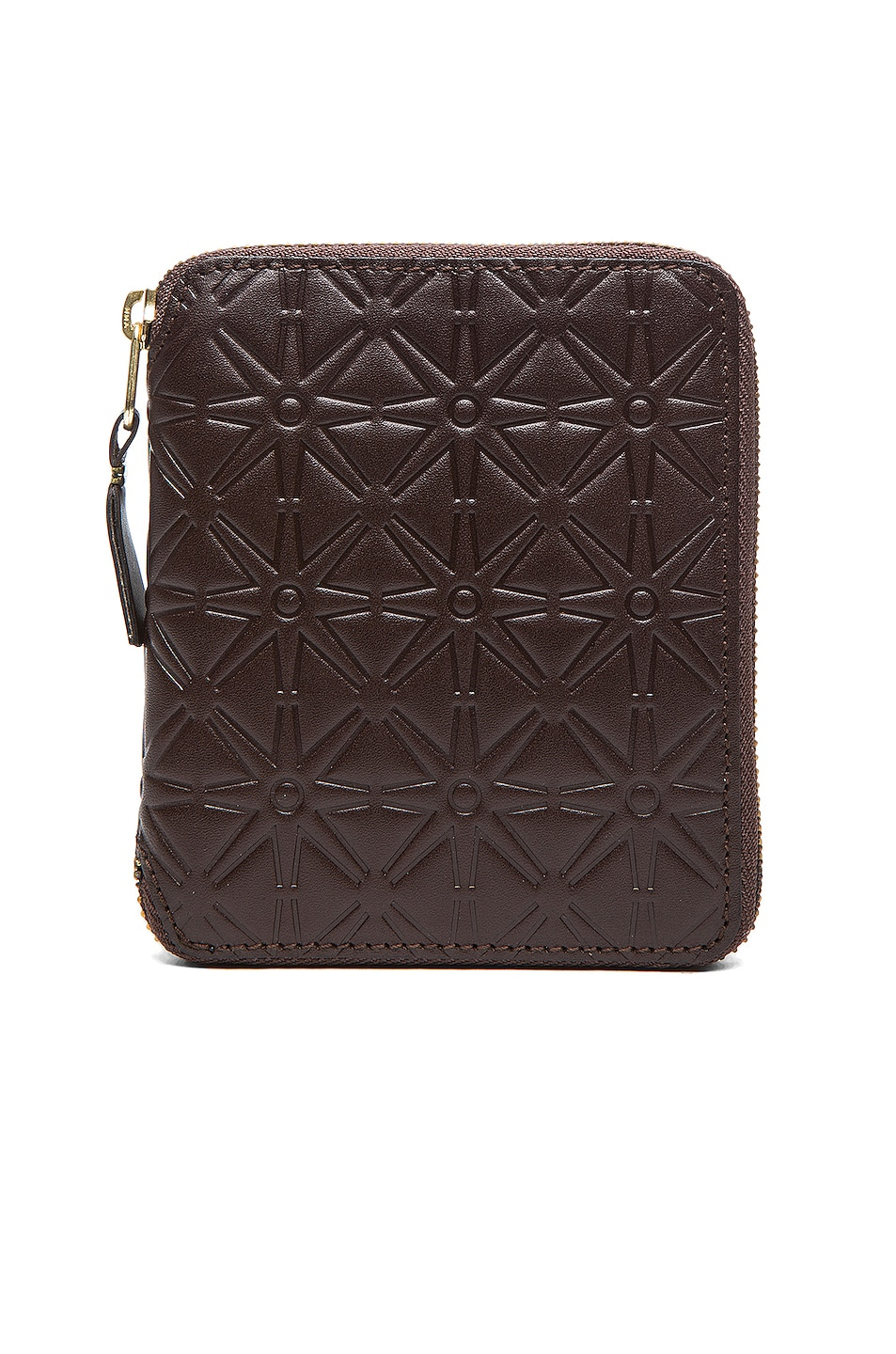 Image 1 of Comme Des Garcons Star Embossed Zip Fold Wallet in Brown