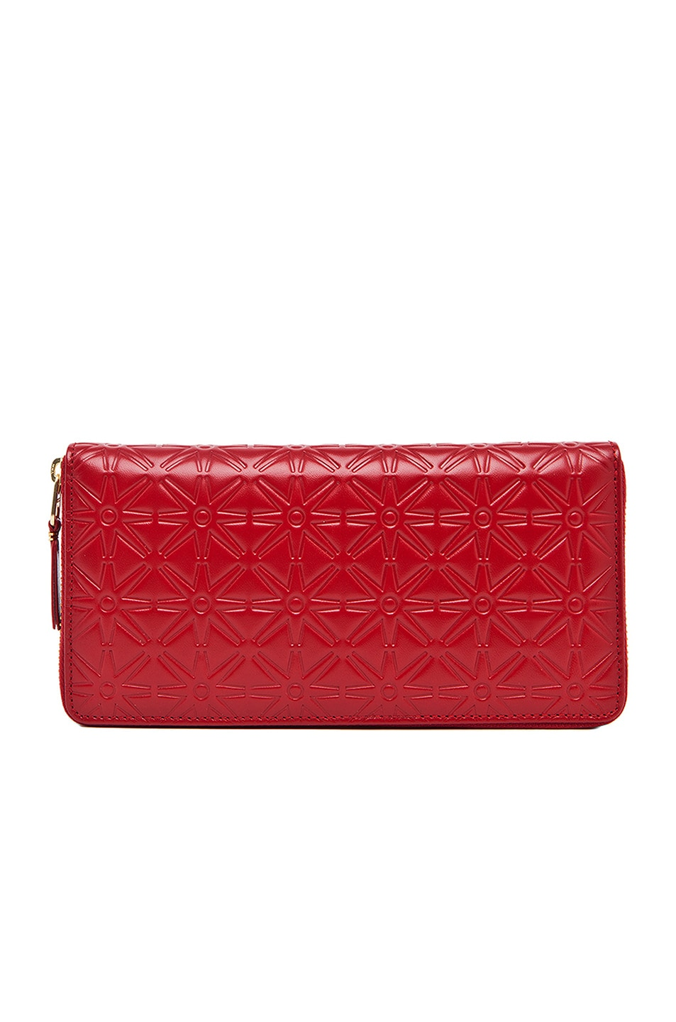 COMME DES GARCONS STAR EMBOSSED LONG WALLET IN WARM TONES