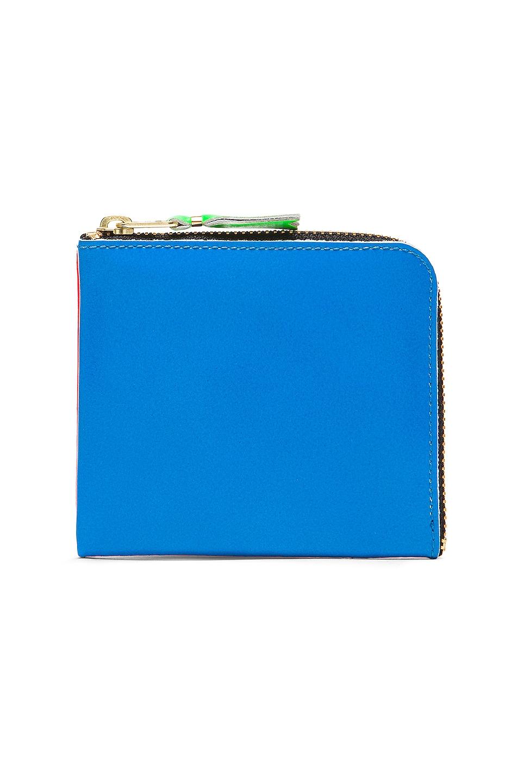 Image 1 of Comme Des Garcons Super Fluo Zip Wallet in Orange & Blue