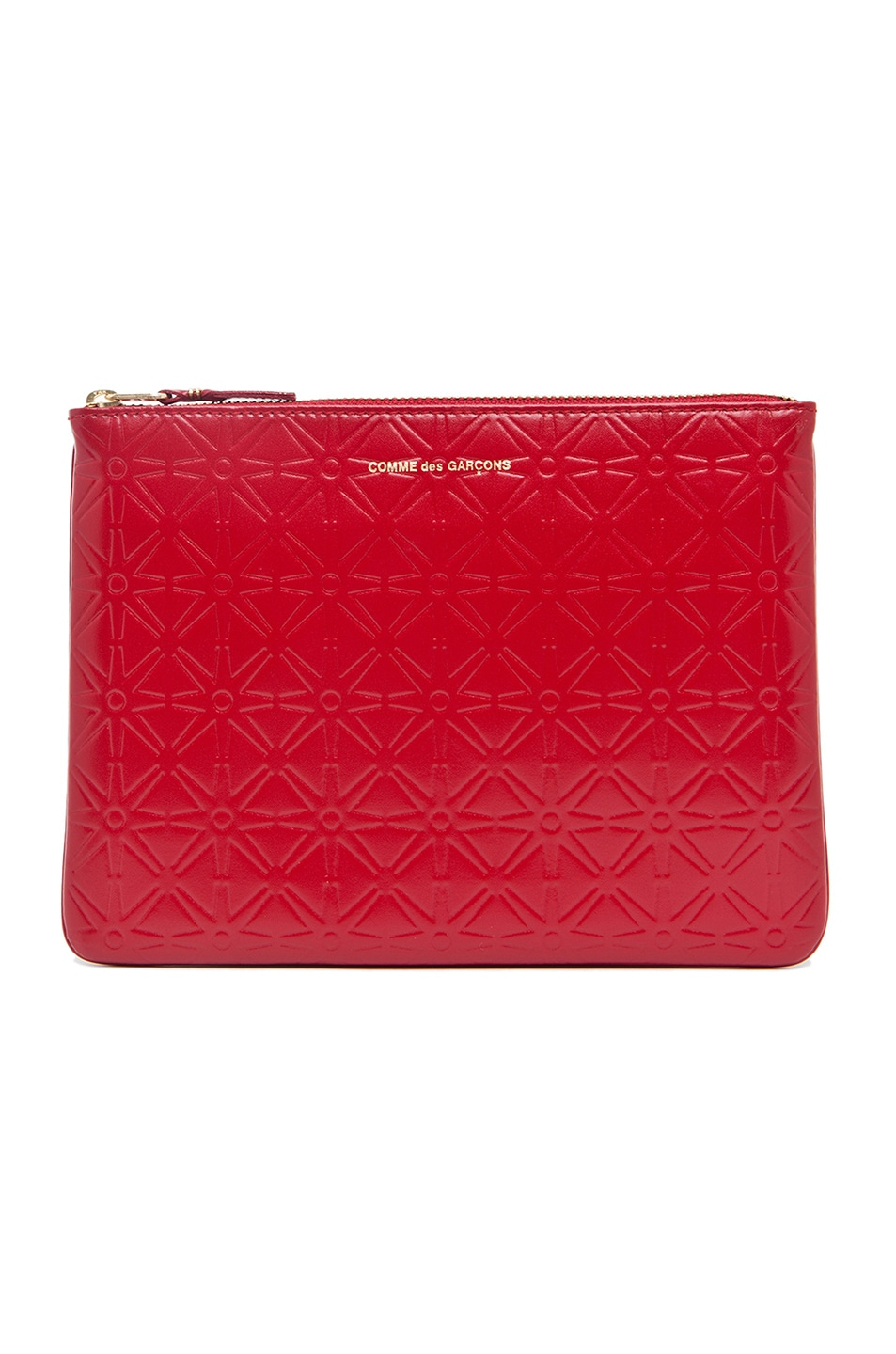Image 1 of Comme Des Garcons Star Embossed Pouch in Red