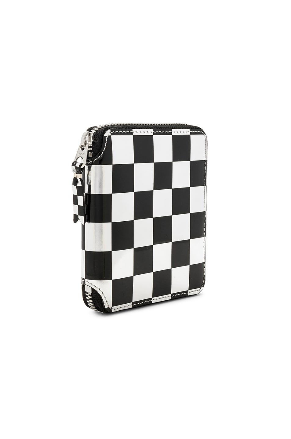 Image 3 of Comme Des Garcons Optical Zip Wallet in Check & Silver