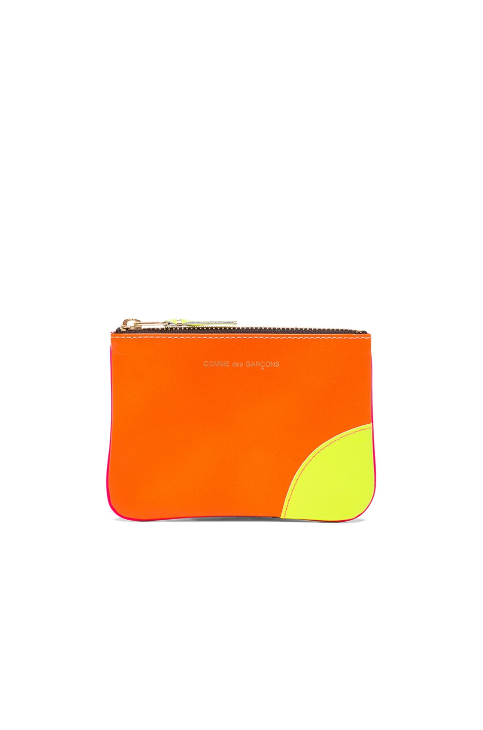 Image 1 of Comme Des Garcons Super Fluo Small Zip Pouch in Orange & Pink
